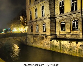 The Leine Palace by night, Leineschloss, seat of Landtag of Lower Saxony, and Leine river, Hannover, Germany, Hanover