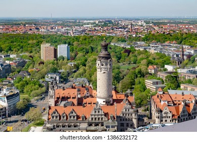 Leipzig, aerial view, view of the new city hall