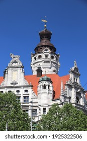Leipzig City Hall. Architecture in Germany. New City Hall (Neues Rathaus) in historicism architecture style.