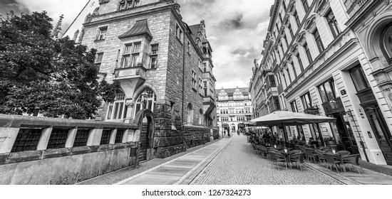 LEIPZIG, GEMANY - JULY 2016: Thomaskirche in Leipzig, Saxony. Leipzig is a famous destination in Germany.