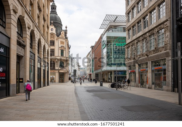 Leipzig, Germany, 03-19-2020 , closed playgrounds, closed shops and empty shopping lines due to the Corona crisis/the main commercial streets with almost no people-Grimmaische Straße