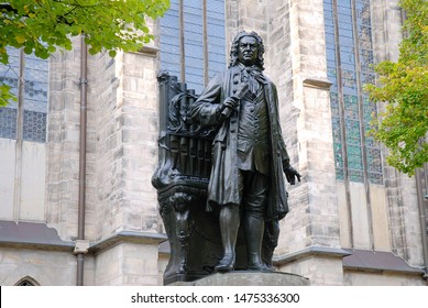 Leipzig, Germany 09-19-2011 sculpture of the german composer Johann Sebastian Bach in front of the Thomas Church