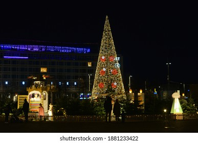 Leipzig, Germany 12-19-2020 christmas theme lights and fairytale decoration at the Augustusplatz