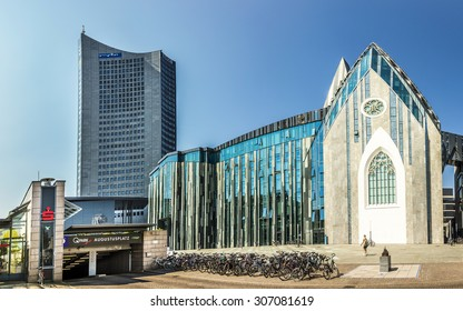 LEIPZIG, GERMANY - AUG 8, 2015: Erick van Egeraat built the modern University hall in 2008 at Augustus Square in Leipzig. Design was a  reminiscent of the 15th century  Church.