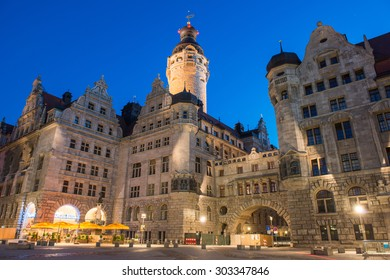 Leipzig, Germany - August 16, 2013: Evening view of the New Town Hall of Leipzig