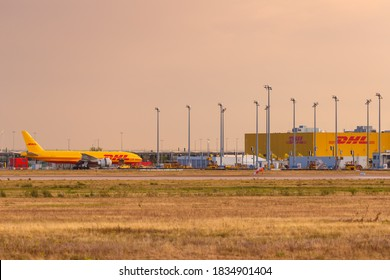 Leipzig, Germany - August 18, 2020: DHL Hub at Leipzig Halle LEJ Airport in Germany.