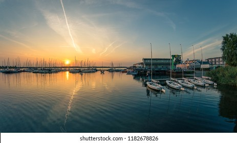 Leipzig, Germany- August 28, 2018: Beautiful sunset at the harbour of the Cospudener Lake