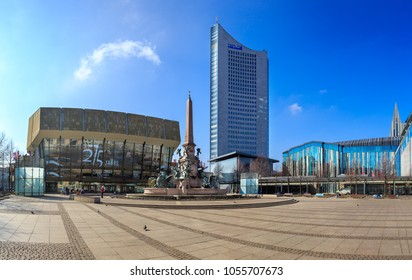LEIPZIG, GERMANY - CIRCA MARCH, 2018:  The panorama view of Augustusplatz with University and Gewandhaus in Leipzig town in Germany