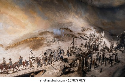 Leipzig, Germany - Dec 2018: Miniature of the Battle of Leipzig inside the Völkerschlachtdenkmal , fought in 1813 between the coalition of armies led by Russia, which defeated the army of Napoleon I.