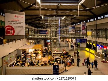 LEIPZIG, GERMANY - DECEMBER 22, 2018: interior of Leipzig airport. Leipzig Airport is an international airport located in Schkeuditz, Saxony and serves both Leipzig, Saxony and Halle, Saxony-Anhalt.