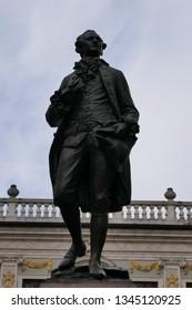 LEIPZIG, GERMANY – FEBRUARY 23, 2019: The Johann Wolfgang Goethe monument in Leipzig, Germany