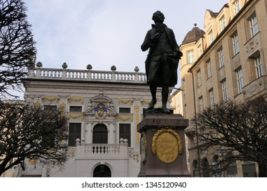 LEIPZIG, GERMANY – FEBRUARY 23, 2019: Front view to the Johann Wolfgang Goethe monument in Leipzig, Germany