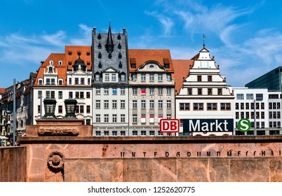 LEIPZIG, GERMANY- JULY 28, 2018: The market, from 1950 to 1954 the Platz des Friedens (place of peace) is a rectangular, about one hectare large square in the center of Leipzig.