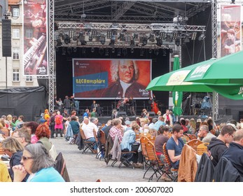 LEIPZIG, GERMANY - JUNE 14, 2014: People at the Bachfest annual summer music festival celebrating baroque musician Johann Sebastian Bach in his town