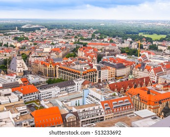 LEIPZIG, GERMANY - JUNE 14, 2014: Aerial view of the city (HDR)