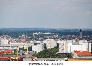 LEIPZIG, GERMANY - JUNE 14, 2017: View from above over the city of Leipzig, Germany