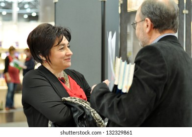 LEIPZIG, GERMANY - MARCH 14: Ukrainian writer and politician Maria Matios at Leipzig Book fair on March 14, 2013 in Leipzig, Germany. Leipzig Book Fair is an important event for publishing market.