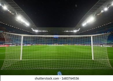 Leipzig, Germany - March 20, 2020: Football gate and net on  Leipzig Arena before match Leipzig vs Tottenham