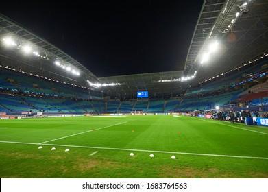 Leipzig, Germany - March 20, 2020: Leipzig Arena before match Leipzig vs Tottenham