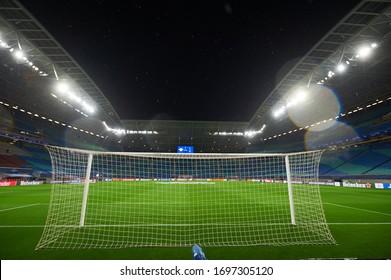 Leipzig, Germany - March 20, 2020: Leipzig Arena during the match UEFA Champions League Leipzig vs Tottenham