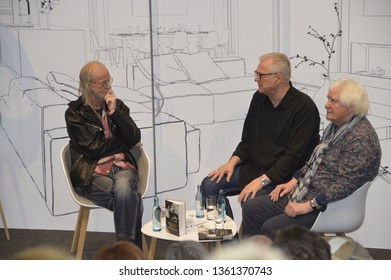 Leipzig Germany, march 23, 2019:Norbert Wehrstedt, Gerd Christian and Wolfgang Martin at the talk to the book 'Says a poet. Holger Biege. The Biography 'at the Leipzig Book Fair 2019 in the LVZ