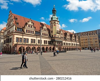 Leipzig, Germany - May 14, 2015: Old Town Hall in Leipzig with marketplace