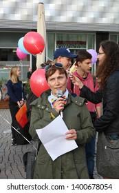 Leipzig germany - may 17, 2019:  Flash mob against homophobia, rainbowflash,International Day Against Homophobia, Transphobia, Biphobia and Interphobia