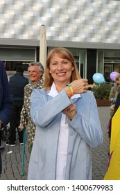 Leipzig germany - may 17, 2019:  Flash mob against homophobia, rainbowflash,International Day Against Homophobia, Transphobia, Biphobia and Interphobia , speaker Petra Koepping