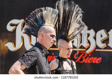 LEIPZIG, GERMANY - MAY 21, 2018: Expressive punk metalhead with a haircut Iroquois at the Annual Leipzig festival