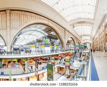 LEIPZIG, GERMANY - MAY 21, 2018: Interior of the railway station Hauptbahnhof of Leipzig, Germany.