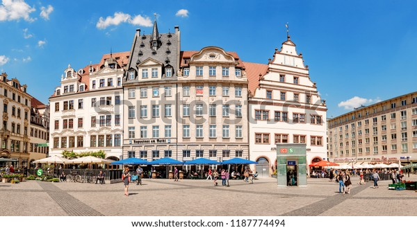 LEIPZIG, GERMANY - MAY 21, 2018: Main square in Leipzig with fair market