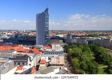 LEIPZIG, GERMANY - MAY 9, 2018: City-Hochhaus skyscraper in Leipzig. The building is owned by Merrill Lynch. Its tenants are MDR and European Energy Exchange.