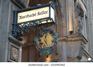 LEIPZIG, GERMANY - MAY 9, 2018: Auerbachs Keller restaurant and wine bar in Leipzig, Germany. It dates back to 16th century and was featured in Goethe's play Faust.