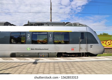 LEIPZIG, GERMANY - MAY 9, 2018: Electric public transportation train of S-Bahn Mitteldeutschland. The train is operated by DB Region. It is Bombardier Talent 2 model.