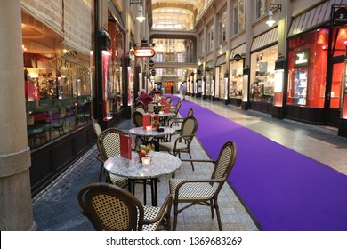 LEIPZIG, GERMANY - MAY 9, 2018: People visit Madler Passage old shopping arcade in Leipzig. The arcade was built over 100 years ago and was result of an architectural design competition.
