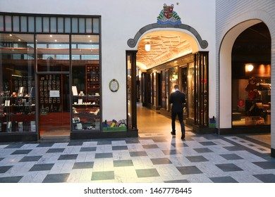 LEIPZIG, GERMANY - MAY 9, 2018: People visit Speck's Hof old shopping arcade in Leipzig, Germany. City of Leipzig features a unique network of old and new shopping passages.