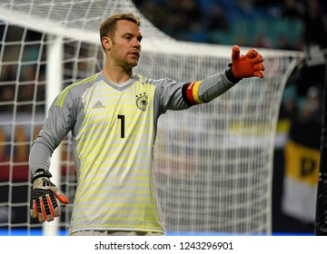 Leipzig, Germany - November 15, 2018. Germany national team goalkeeper Manuel Neuer during international friendly Germany vs Russia in Leipzig.