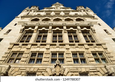 Leipzig, Germany - November 15, 2018. Facade of New Town Hall (Neues Rathaus) building in Leipzig.