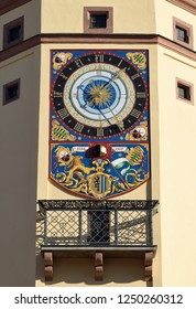Leipzig, Germany - November 15, 2018. Architectural detail of Old Town Hall (Altes Rathaus) building in Leipzig, with clock and balcony.