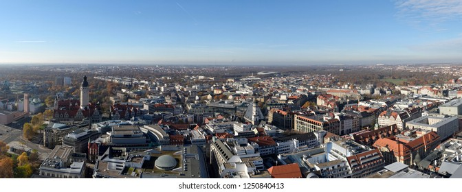 Leipzig, Germany - November 15, 2018 Panoramic view over Leipzig, Germany, with residential and commercial buildings.