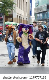 LEIPZIG, GERMANY – OCTOBER 06, 2018: Cosplayers disguised as animals go through the city center of Leipzig