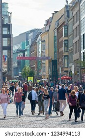 LEIPZIG, GERMANY – OCTOBER 06, 2018: Tourists and residents in a popular shopping street in the center of Leipzig