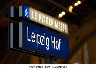 LEIPZIG, GERMANY - OCTOBER 06, 2018: Sign on a platform in Leipzig Central Station with the inscription Leipzig Trade Fair and Leipzig Central Station