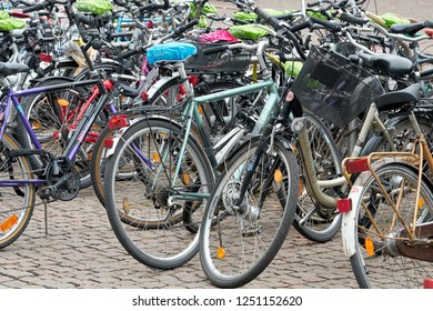 LEIPZIG, GERMANY – OCTOBER 08, 2018: Bicycles of students at the campus of the university in downtown Leipzig