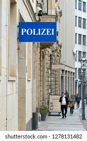 """LEIPZIG, GERMANY – OCTOBER 08, 2018: Sign with the inscription """"Police"""" as an indication of a police station in the city center of Leipzig in Germany"""