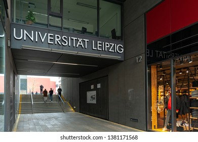 Leipzig, Germany - October 2018: Entrance to compound of Leipzig University from Grimmaische Street at Augustusplatz in downtown Leipzig City