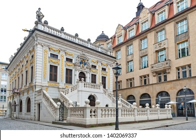 Leipzig, Germany - October 2018: Historic baroque style building of The Old Stock Exchange at Naschmarkt Plaza in Leipzig, Germany