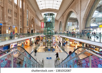 Leipzig, Germany - October 2018: Interior of Leipzig Hauptbahnhof, central railway terminal station in downtown Leipzig city and Promenaden Hauptbahnhof, large shopping mall operated by Deutsche Bahn