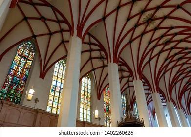 Leipzig, Germany - October 2018: Interior of St Thomas Church (Thomaskirche), a Lutheran church in Leipzig, Germany