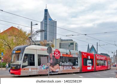 Leipzig, Germany - October 2018: Modern low-floor tram of Leipzig tramway network, public transport system in Leipzig, Germany